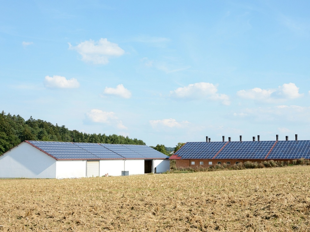 Recycling center with solar panels